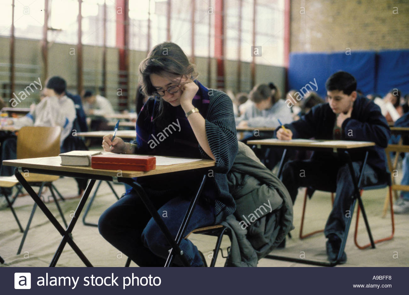 Schoolchildren sitting GCSE exam secondary school UK - Stock Image
