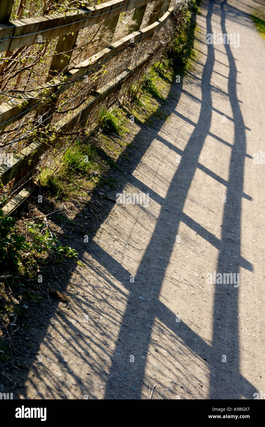 Fence on restored section the Crumlin Arm of Monmouthshire and Brecon Canal Newport South Wales UK - Stock Image