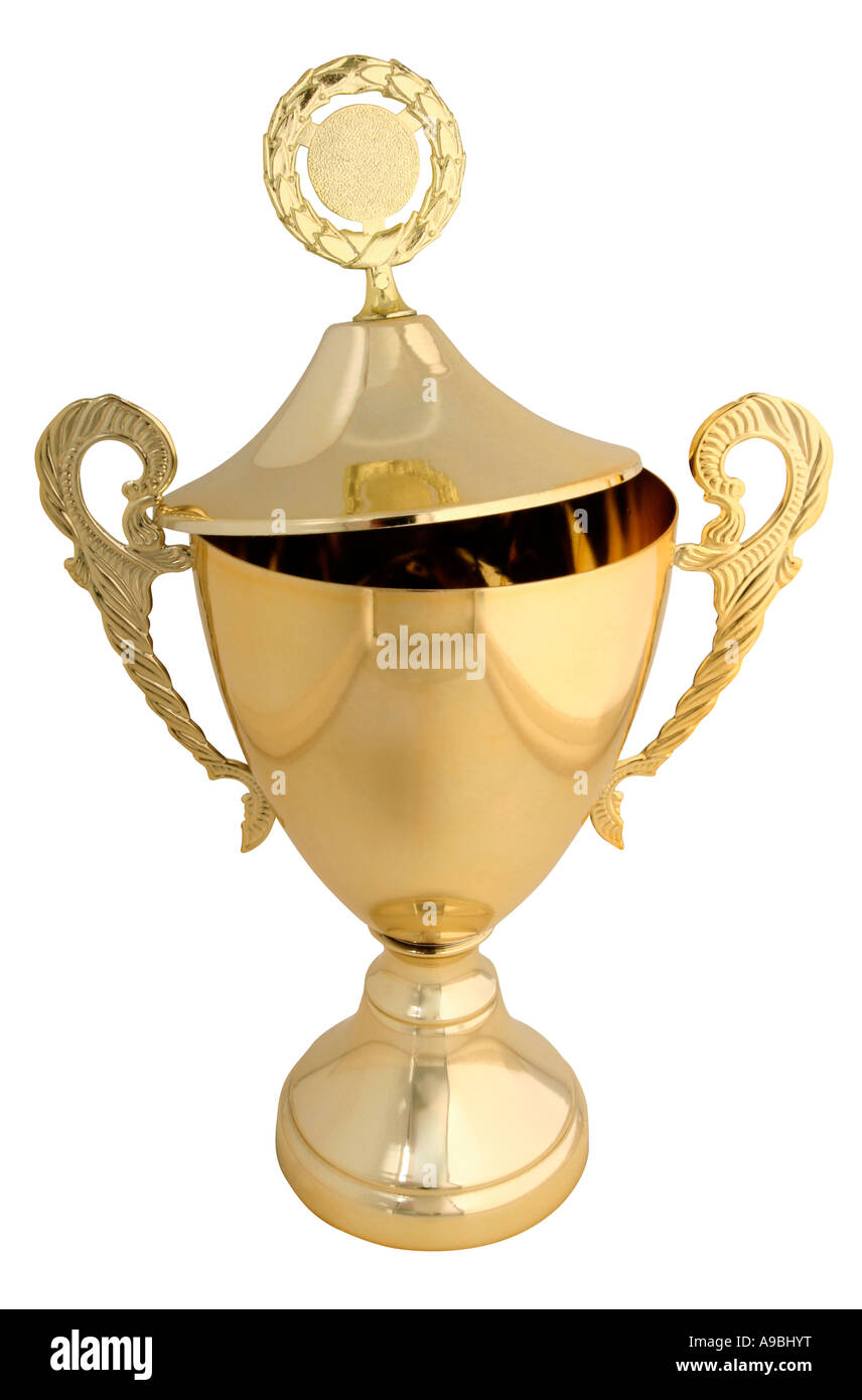 Large golden trophy isolated on white with clipping path real object not a 3D render - Stock Image