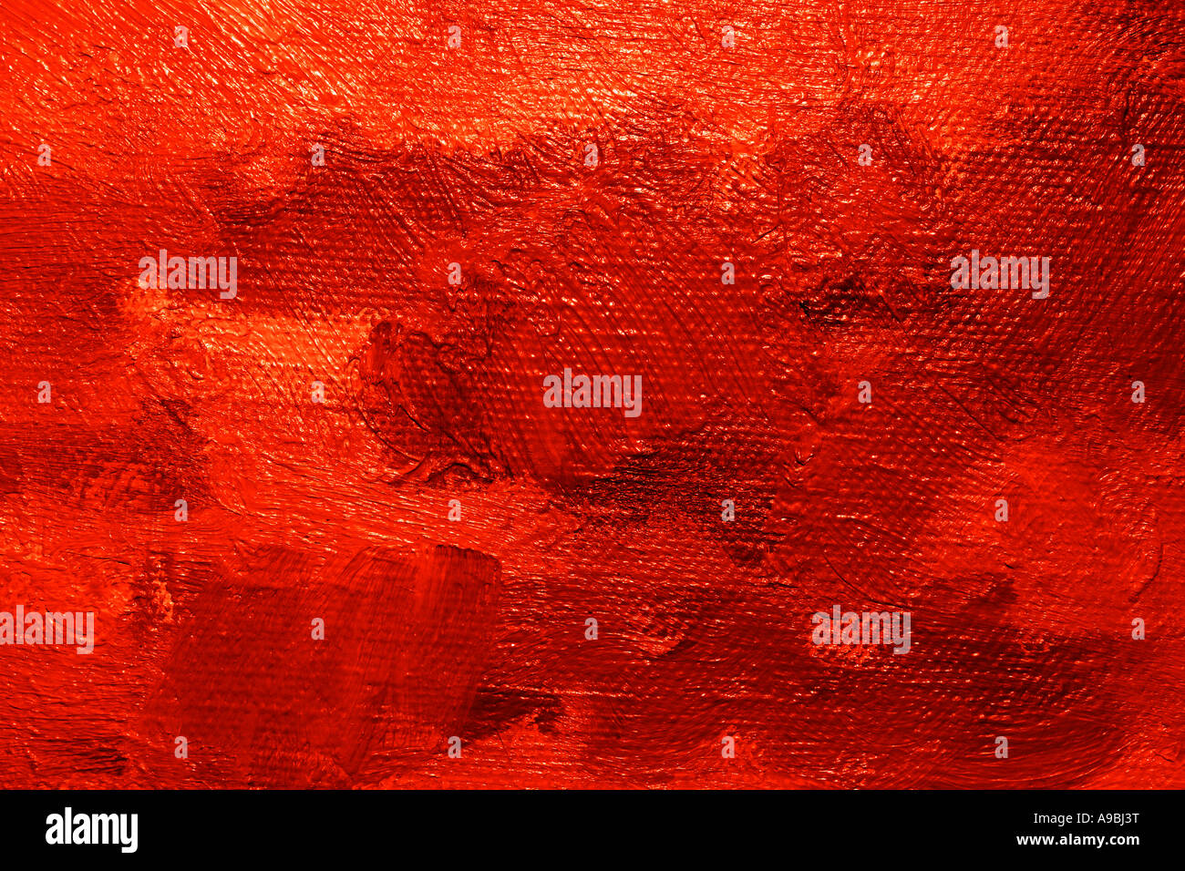 Close up of a oil painted canvas texture and brush strokes well visible - Stock Image