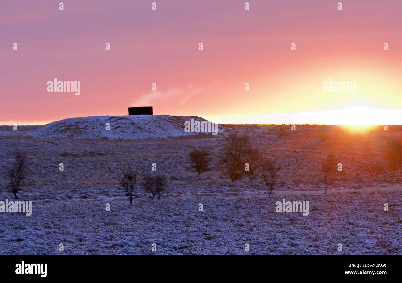 "The 5th vent to Totley tunnel at sunrise on ""Totley moss"" In Derbyshire ""Great Britain"" Stock Photo"