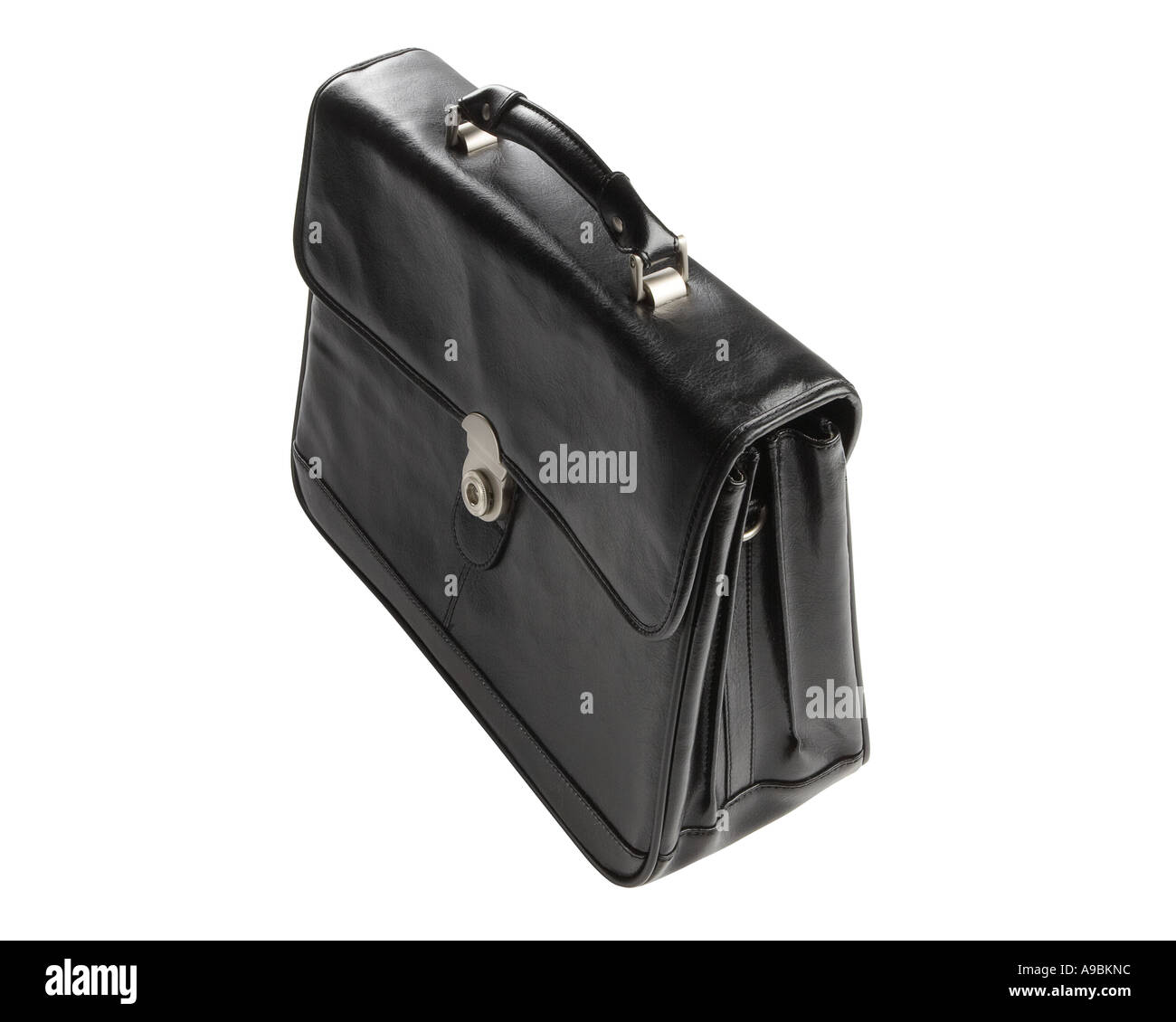 Leather briefcase on white background with clipping path - Stock Image