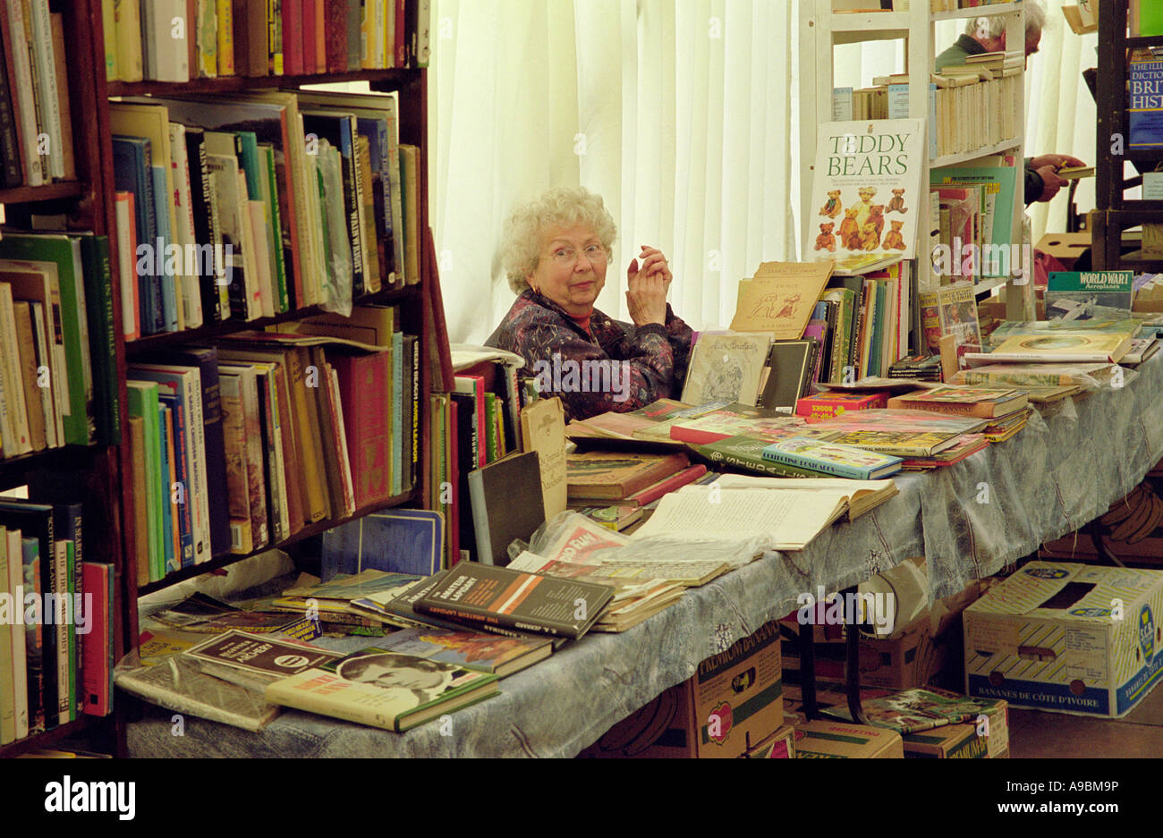Wigtown Book Festival stall holder selling second hand books at Wigtown National Book Town in the Machars of Galloway - Stock Image