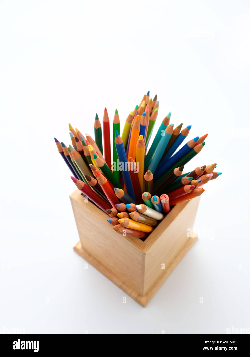 box of coloured pencils - Stock Image
