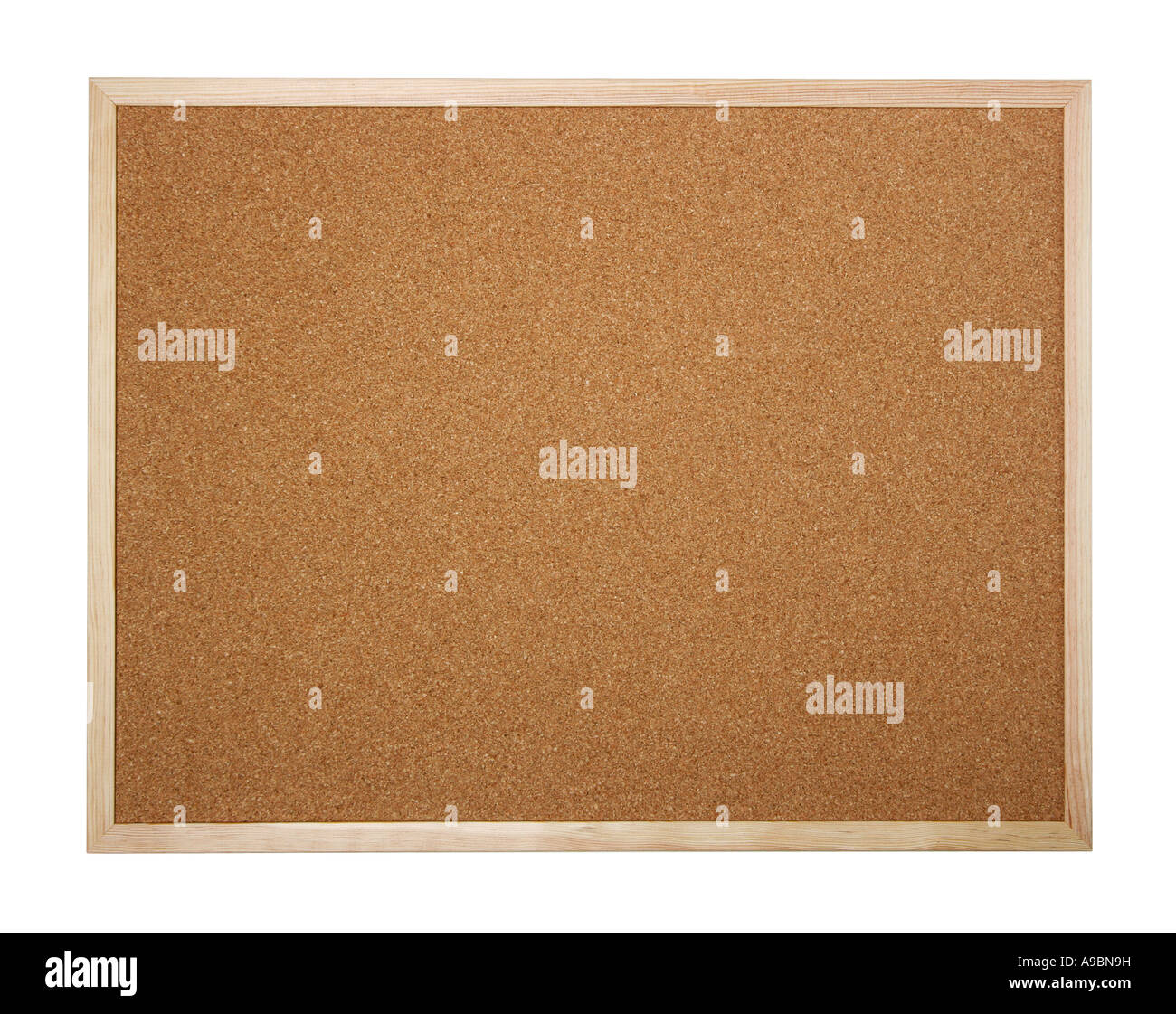 Cork board isolated on white insert your own message or bulletin with thumbtacks - Stock Image