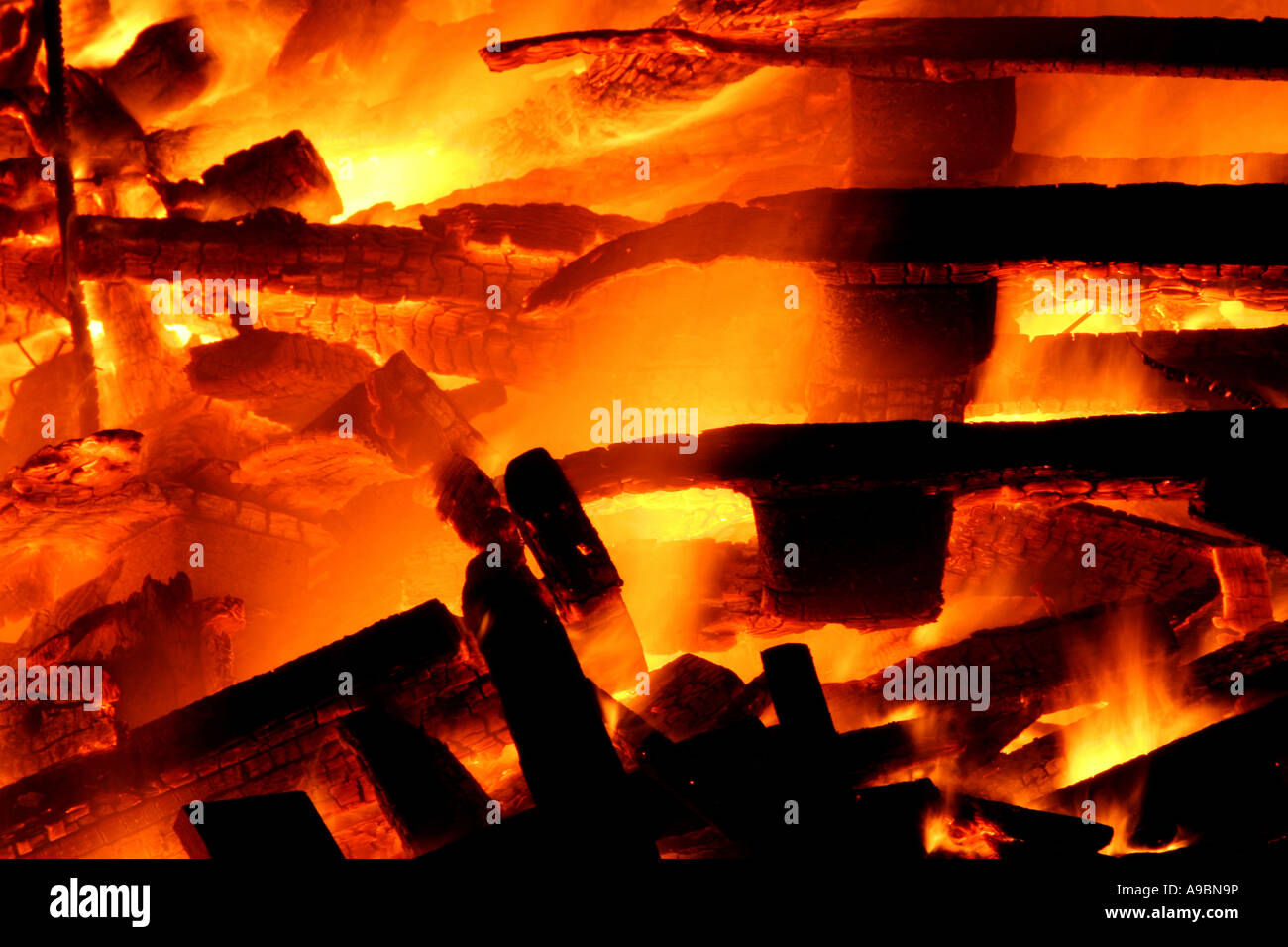 Blazing inferno shot at a bonfire - Stock Image