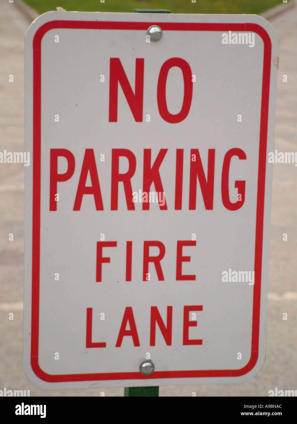AJD42678, road sign, No Parking Fire Lane - Stock Image