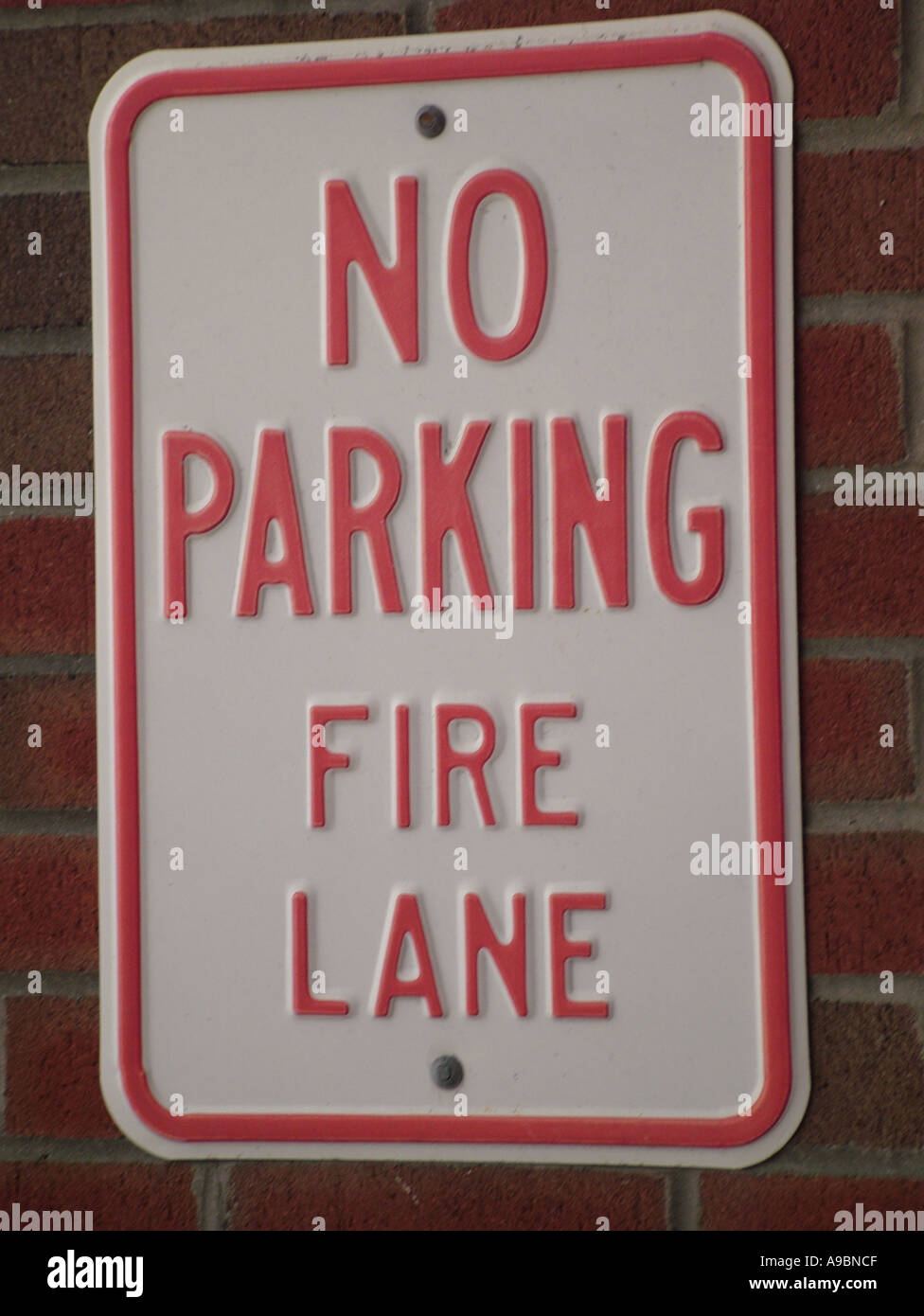 AJD42688, road sign, No Parking Fire Lane - Stock Image