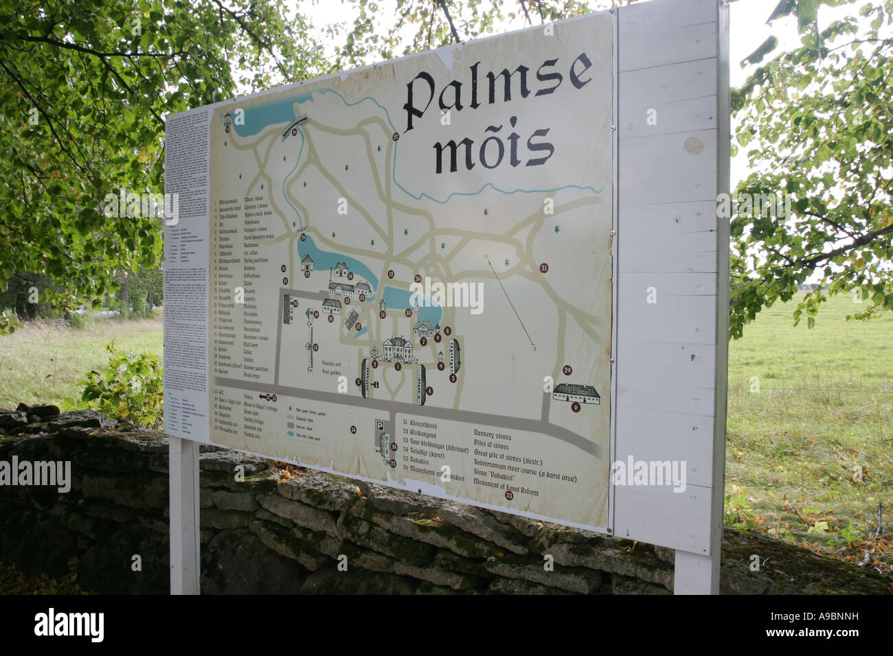 ESTONIA -  map at entrance to  Palmse Manor in the Lahemaa National Park Stock Photo