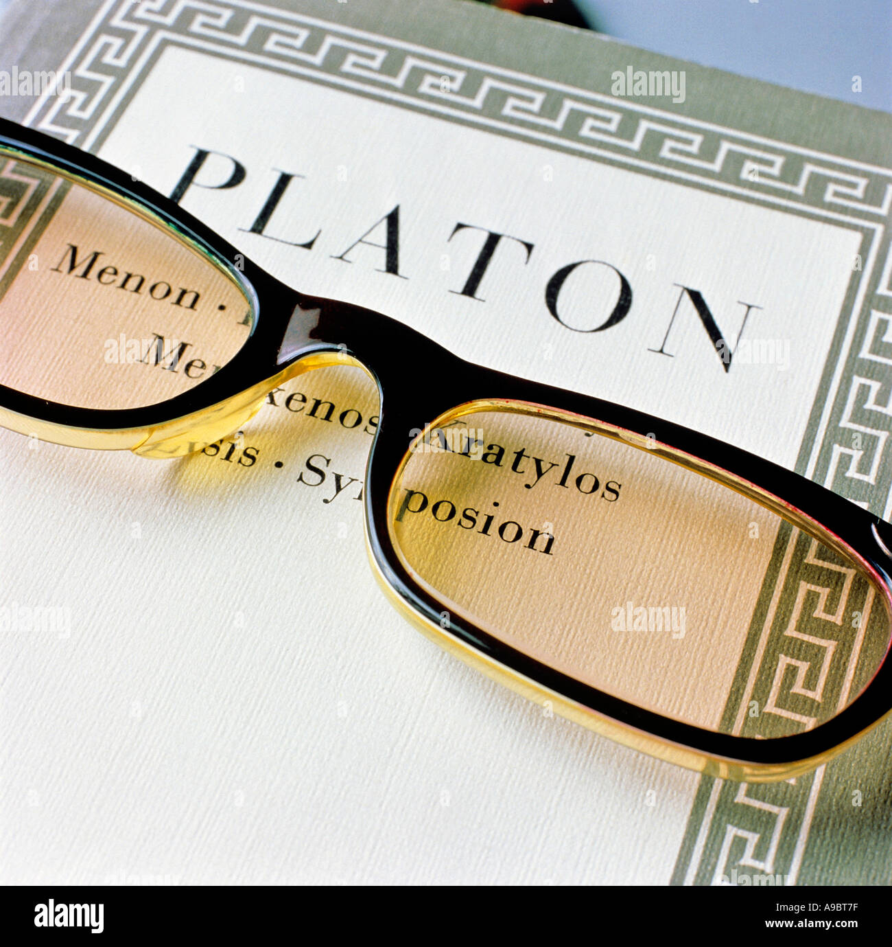 book of platon title menon kratylos menexenos symposion symbolism for philosophy editorial use only - Stock Image