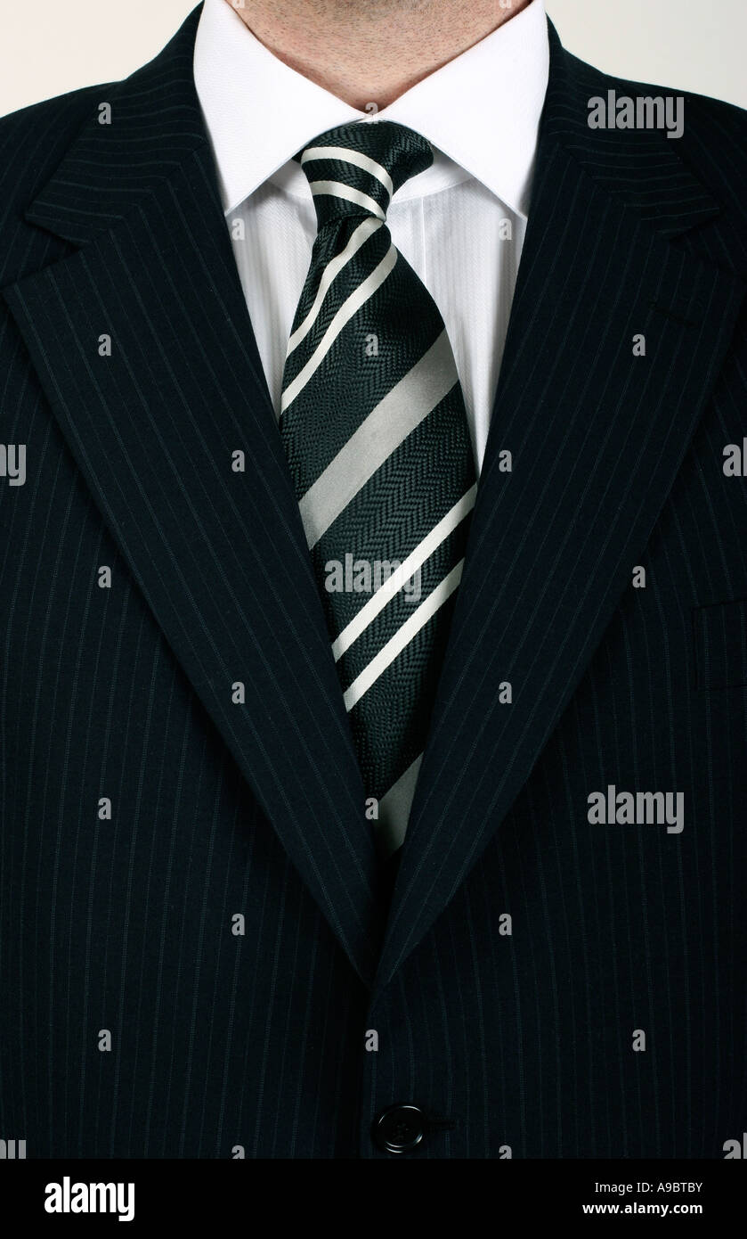 business man in black striped suit Stock Photo