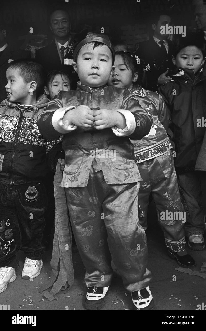 Young Chinese American boy at Chinese New Year celebrations in Brooklyn, NY - Stock Image