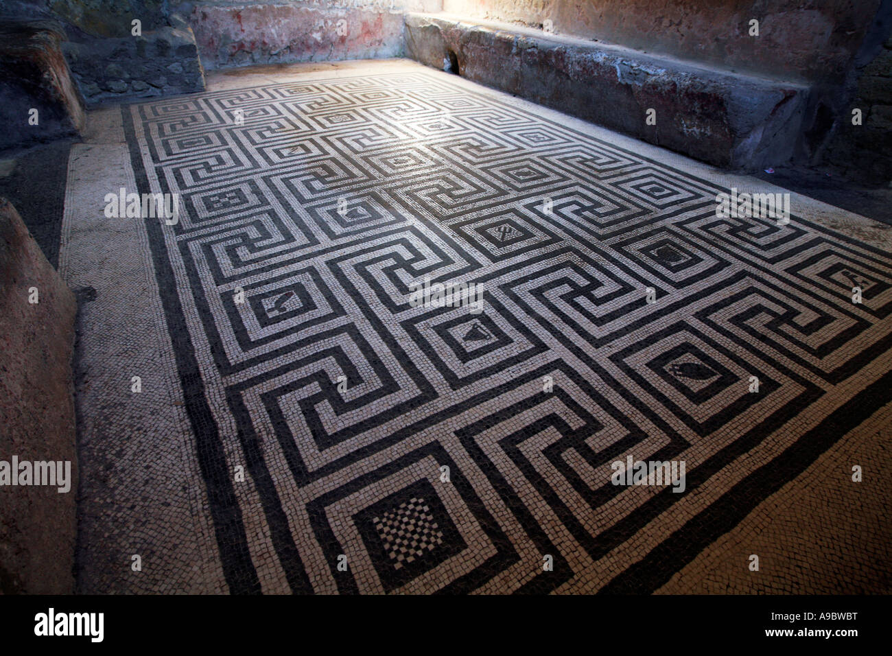 Well preserved mosaic floor in womans baths in Pompeii - Stock Image