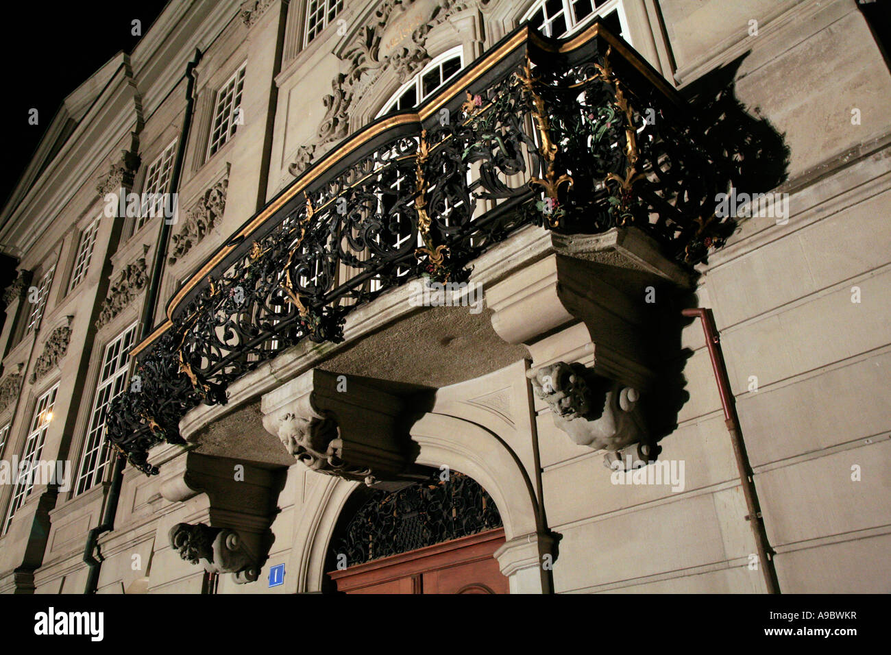 Balcony in Zurich Switzerland photographed at night - Stock Image