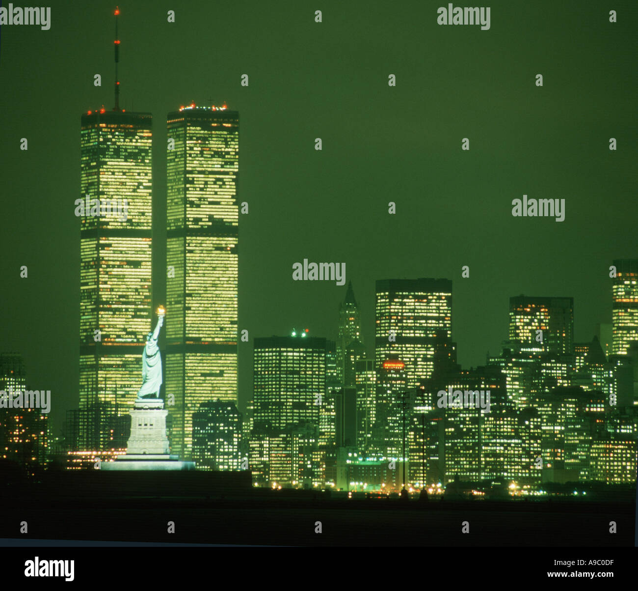 Lower Manhattan New York City at night prior to September 11 2001 showing World Trade Center Towers - Stock Image