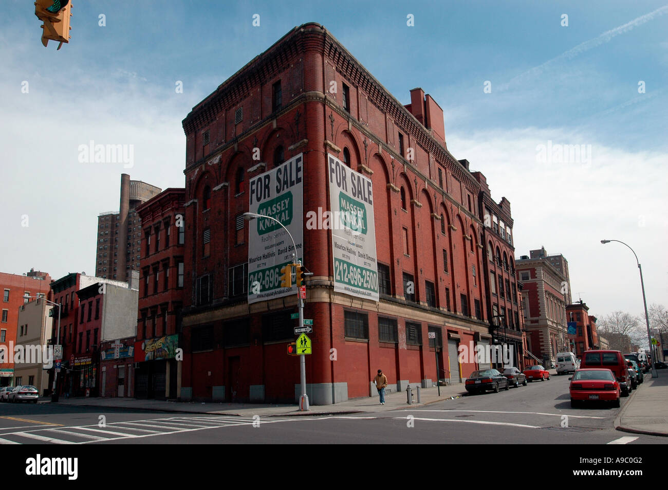 Brick warehouse for sale in the Mott Haven neighborhood of the Bronx in New York City - Stock Image