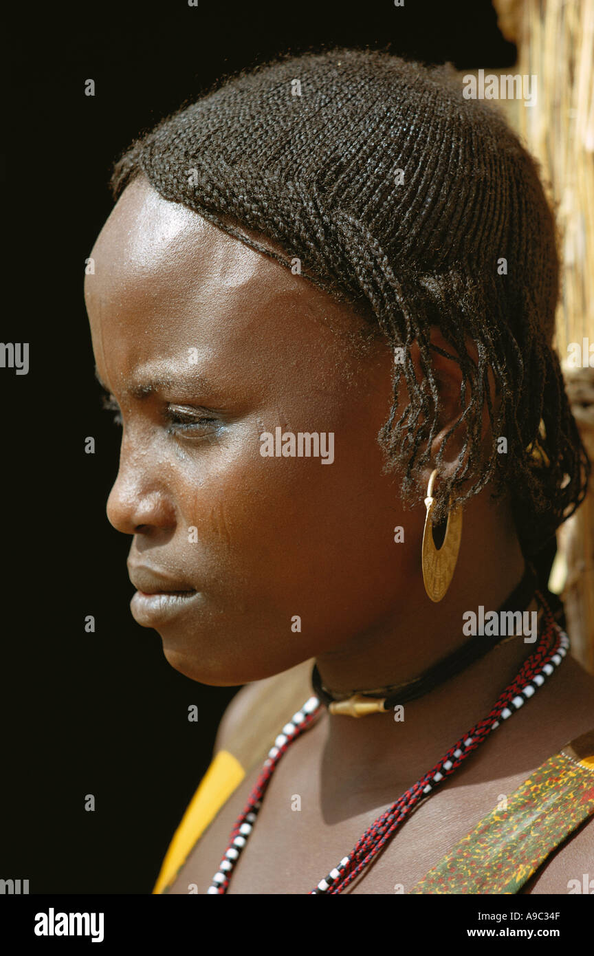 Africa Chad portrait of girl on islands of Lake Chad - Stock Image