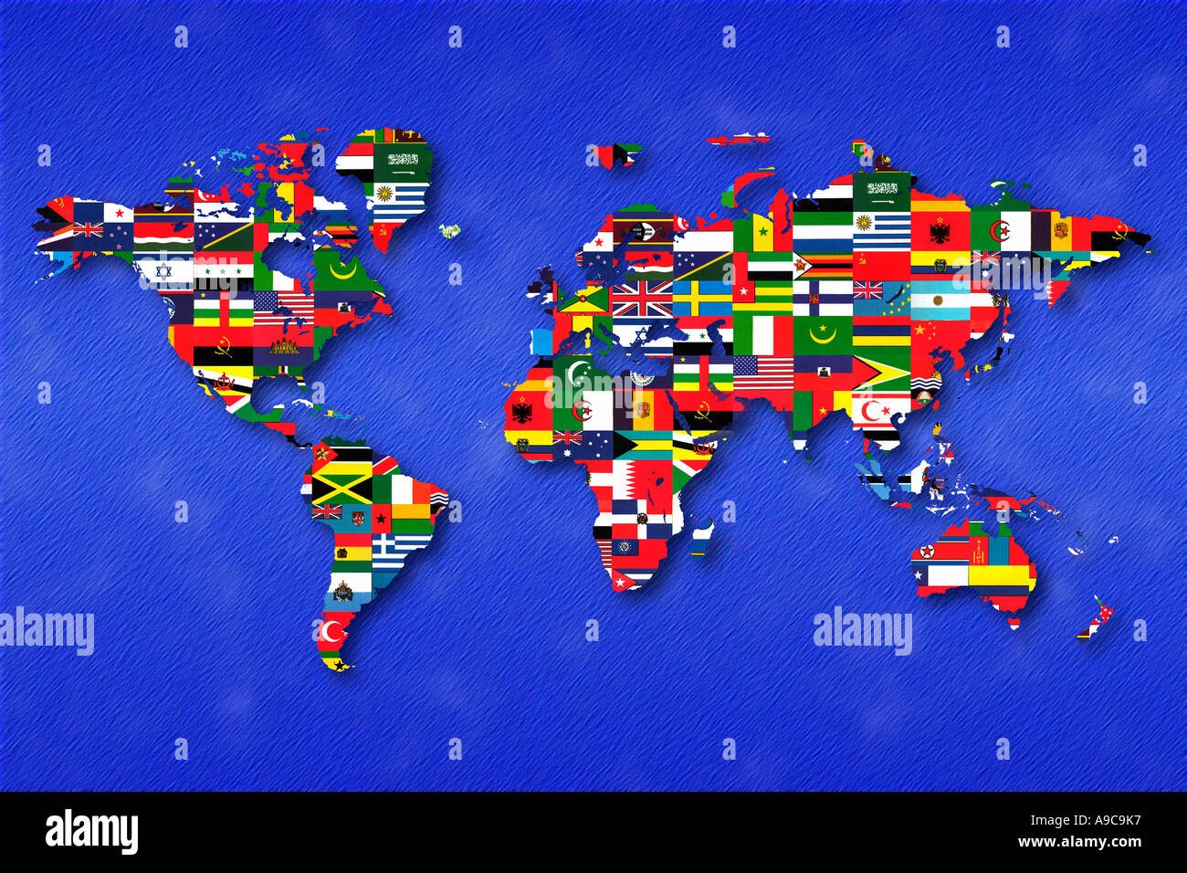 International Flags And World Map - Stock Image