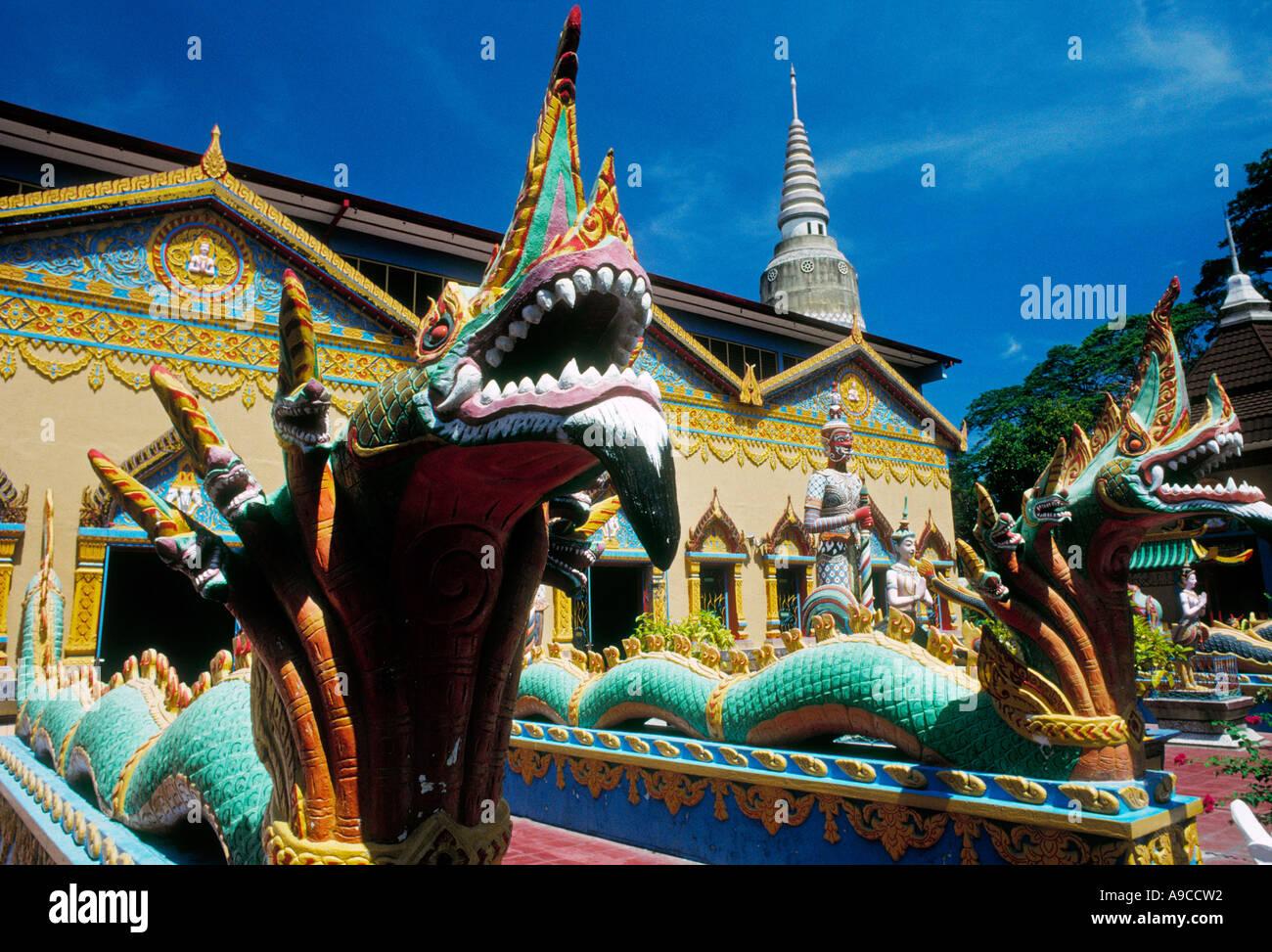 Multi headed dragons temple Wat Chayamangkalaram Wat Buppharam Penang Georgetown Malaysia Stock Photo