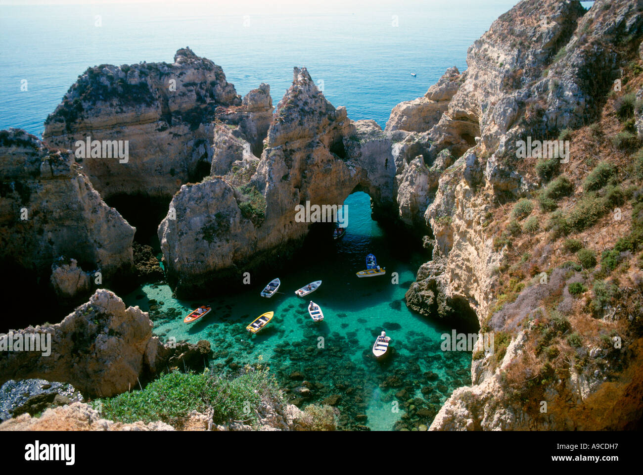 Boat tour Beach resort Lagos Algarve Portugal - Stock Image