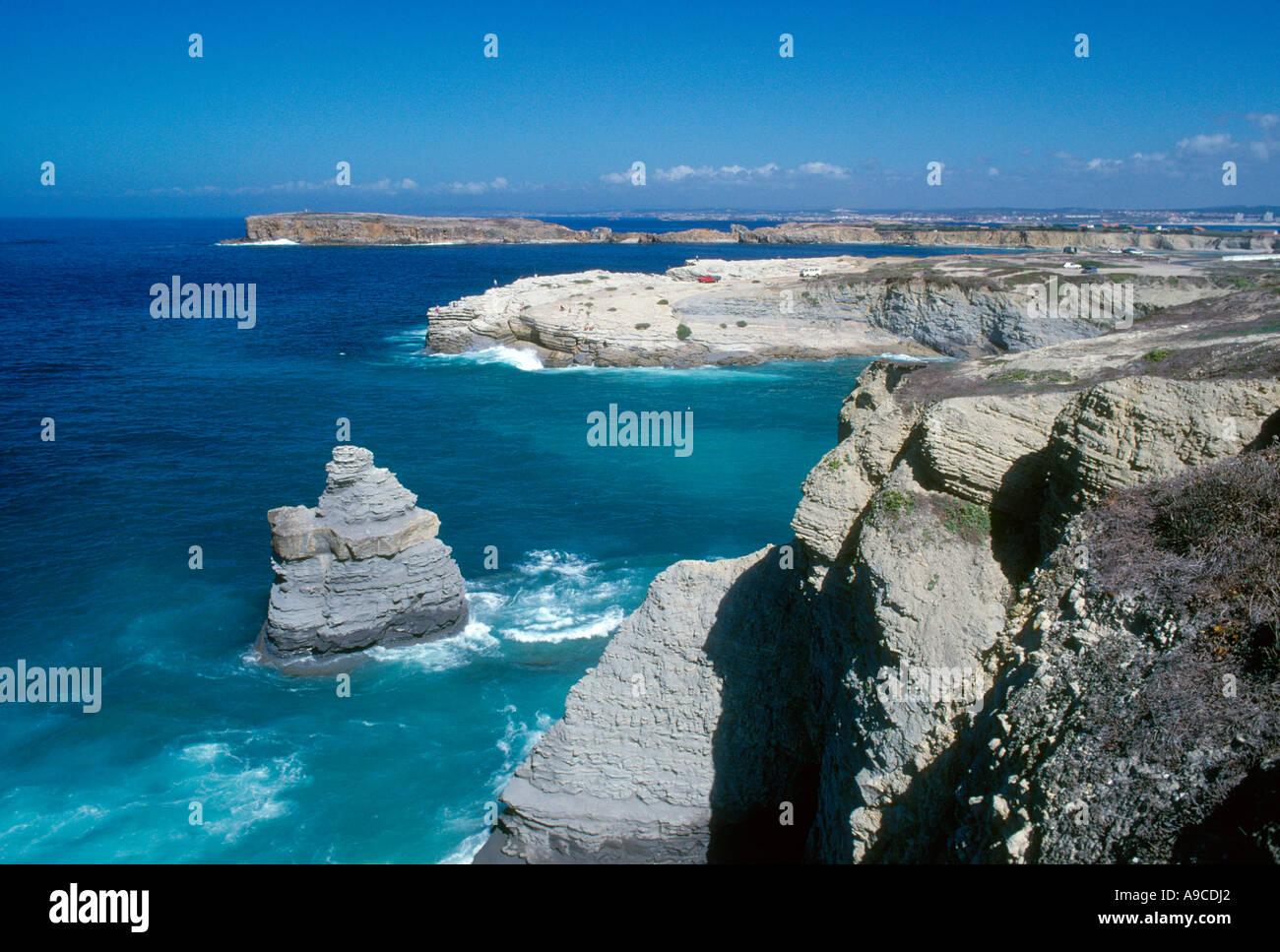 Peniche cape Peniche Algarve natural coast Portugal - Stock Image