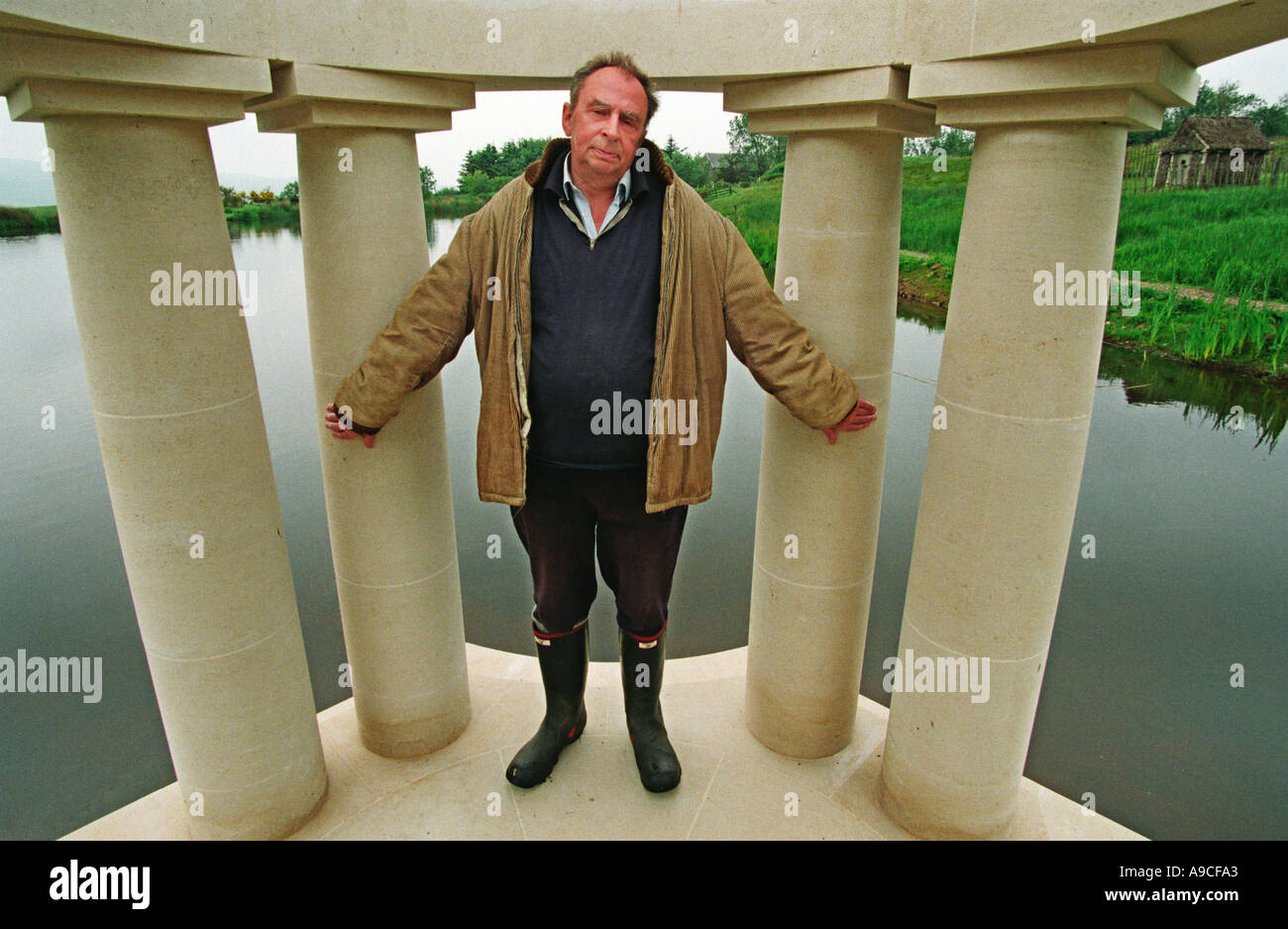 Ian Hamilton Finlay at his home and Sculpture Garden Liittle Sparta in Dunsyre Scotland - Stock Image