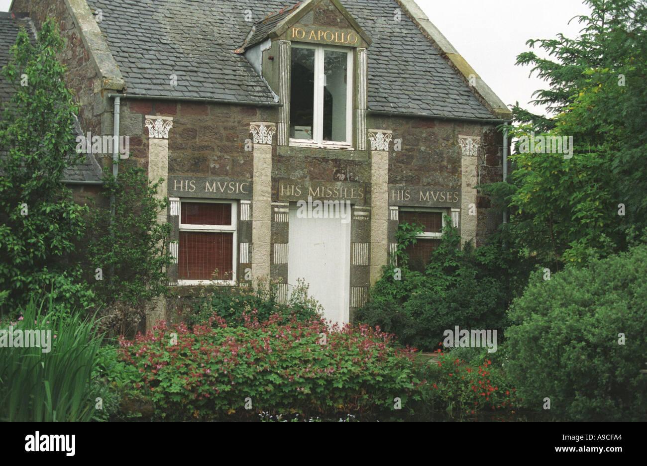 Ian Hamilton FinlaysSculpture Garden Liittle Sparta in Dunsyre Scotland - Stock Image