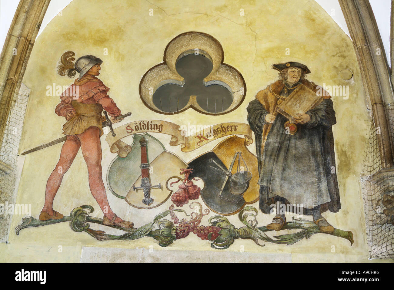 Mural painting of Martin Luther reformer - Stock Image
