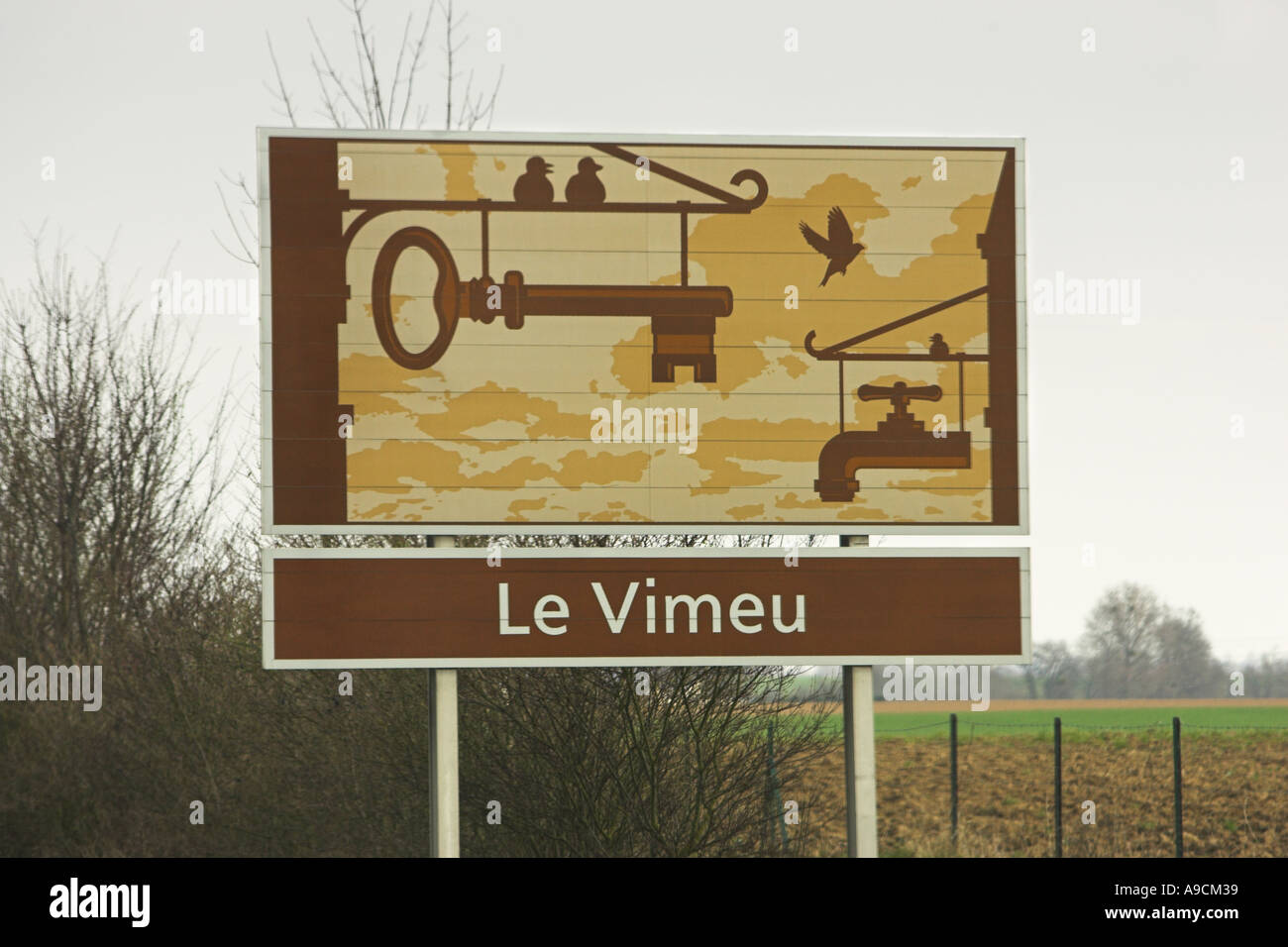 French painted autoroute information sign Le Vimeu Stock Photo