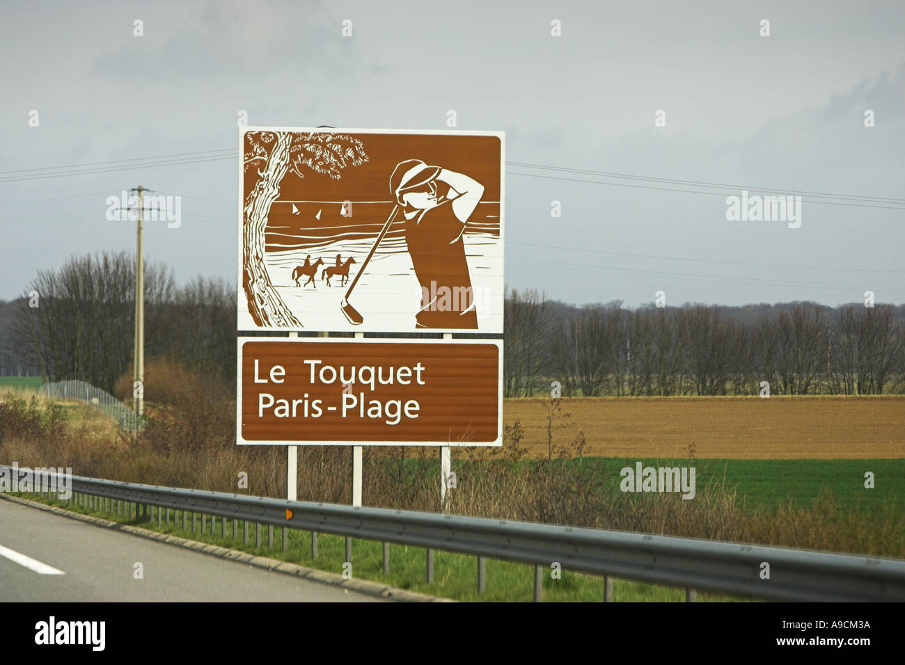 French painted autoroute tourist information sign Le Touquet, Paris Plage Stock Photo