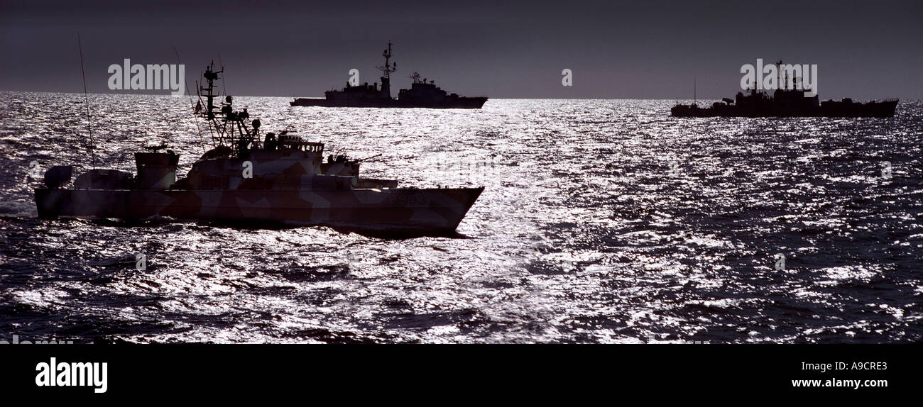 The Norwegian MTB Lom in company with the left French destroyer De Grasse and the Norwegian frigate Bergan - Stock Image