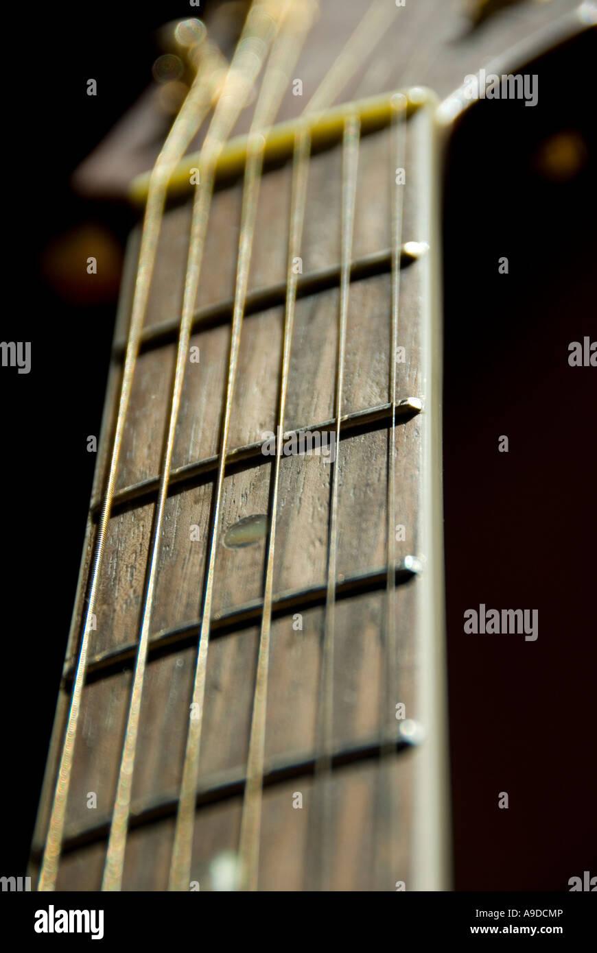 close up of a guitar - Stock Image