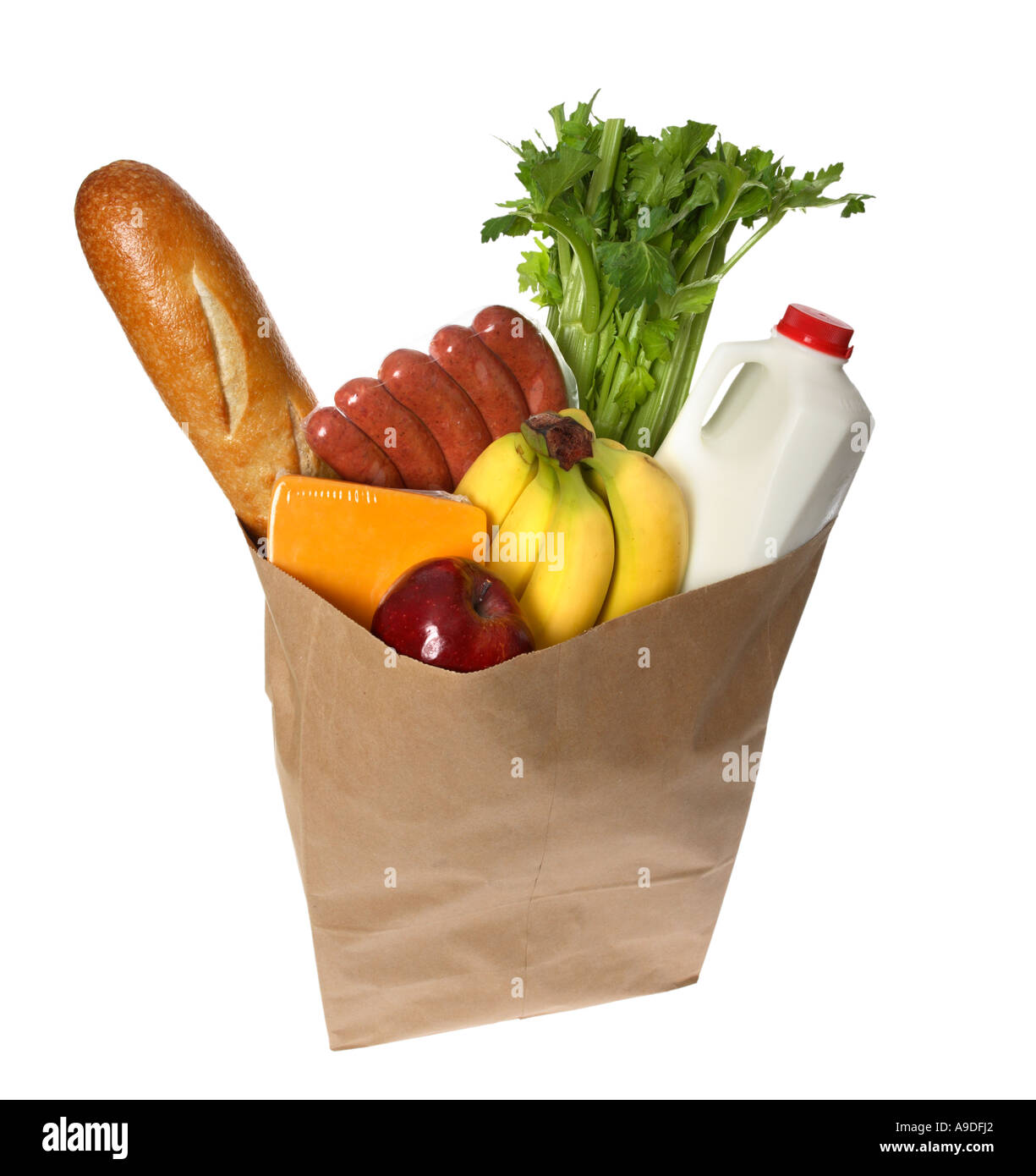 Grocery bag full of groceries - Stock Image