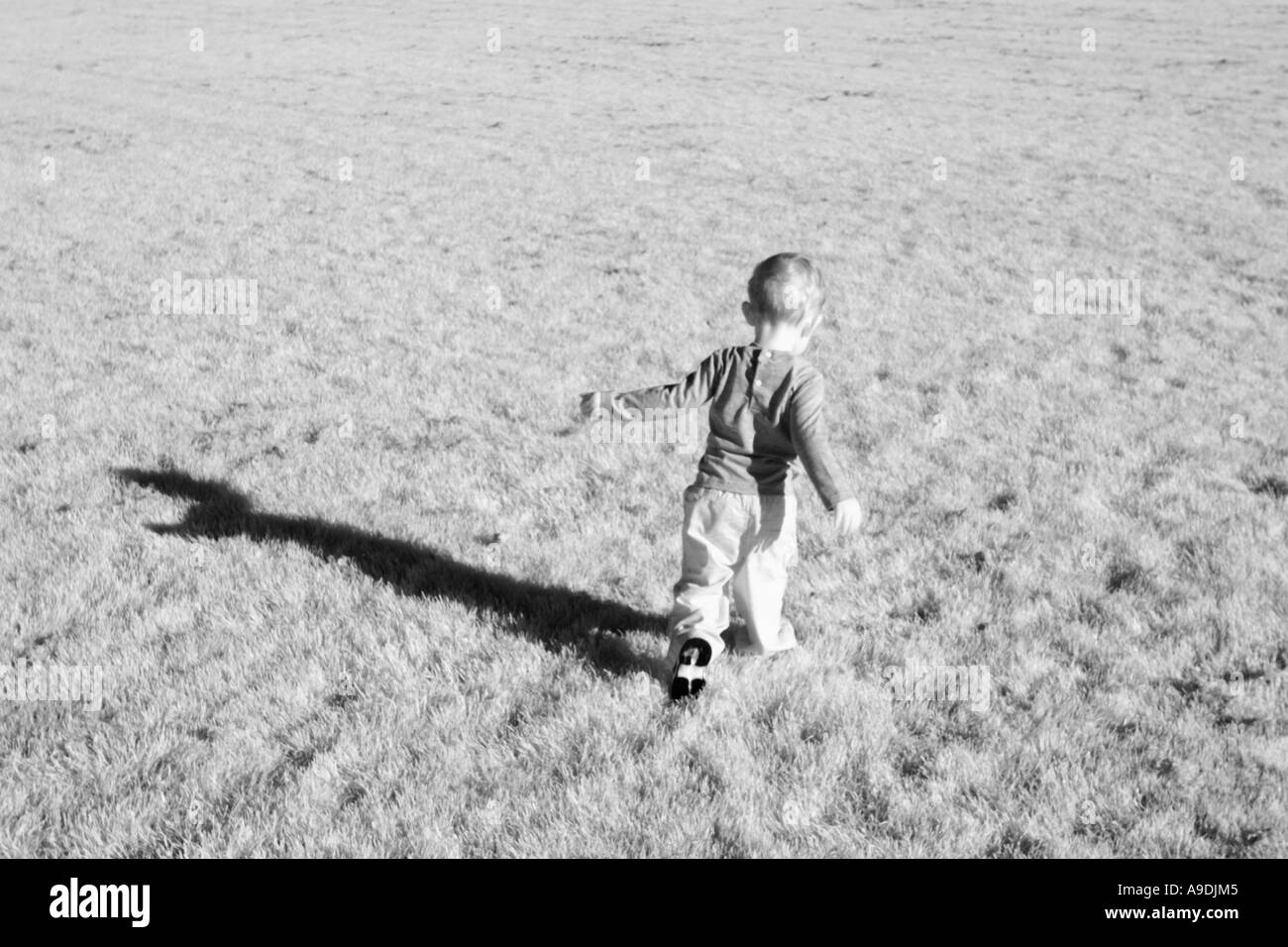 2 year old boy running through the grass. - Stock Image