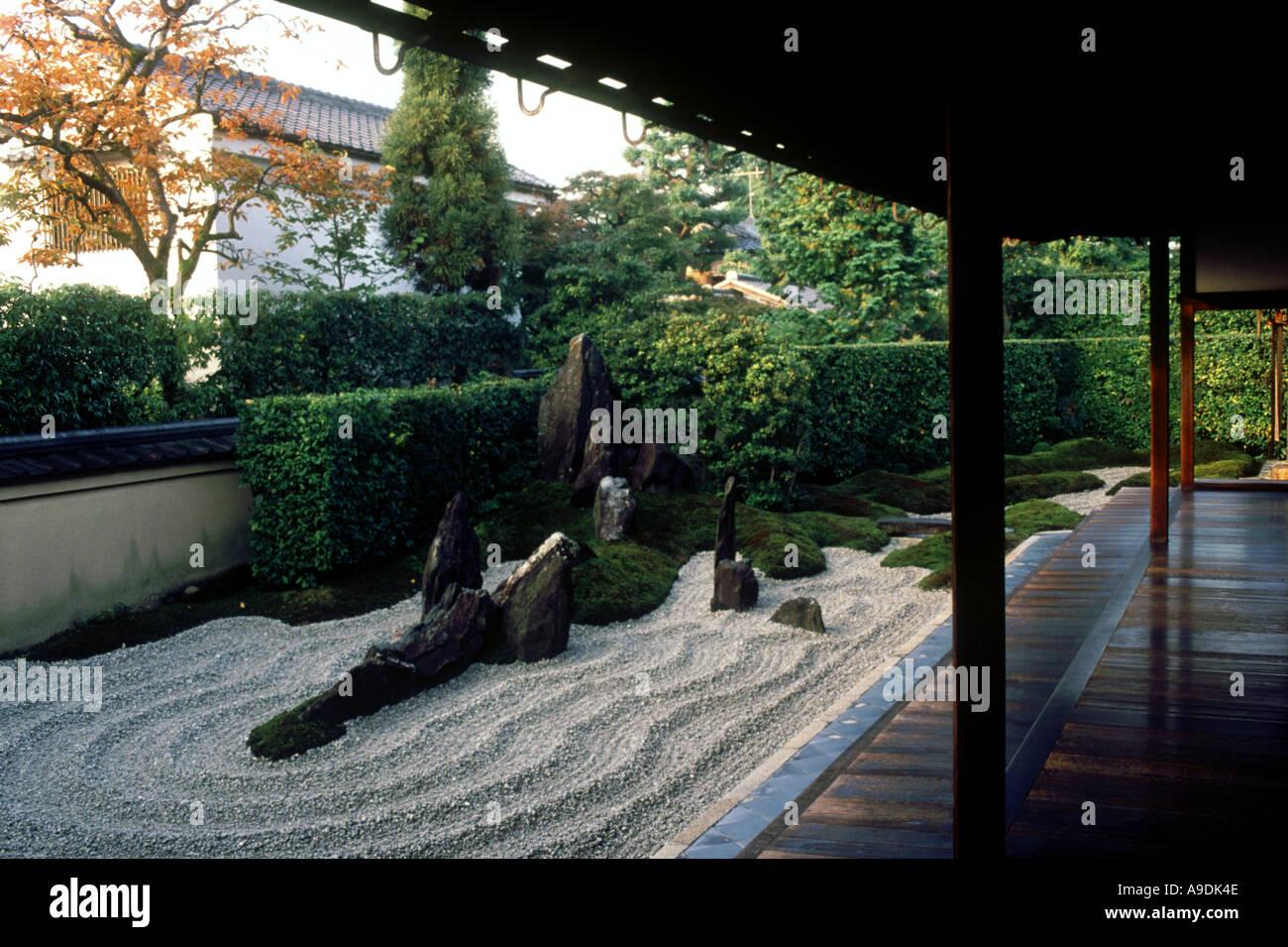 Zen garden of Zuiho in Daitoku ji Temple complex Kyoto Japan - Stock Image