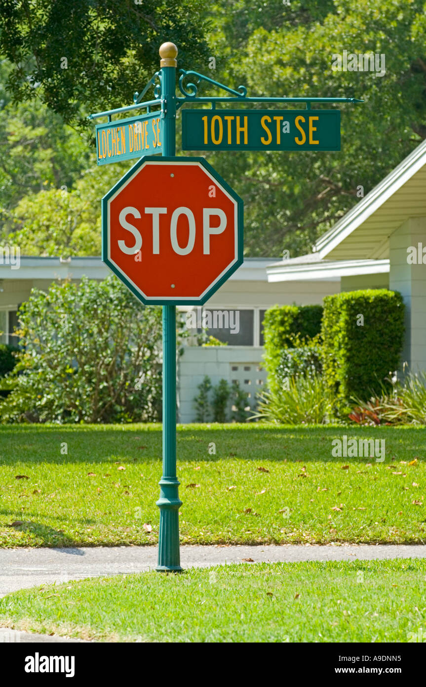 stop sign in upscale homes area - Stock Image