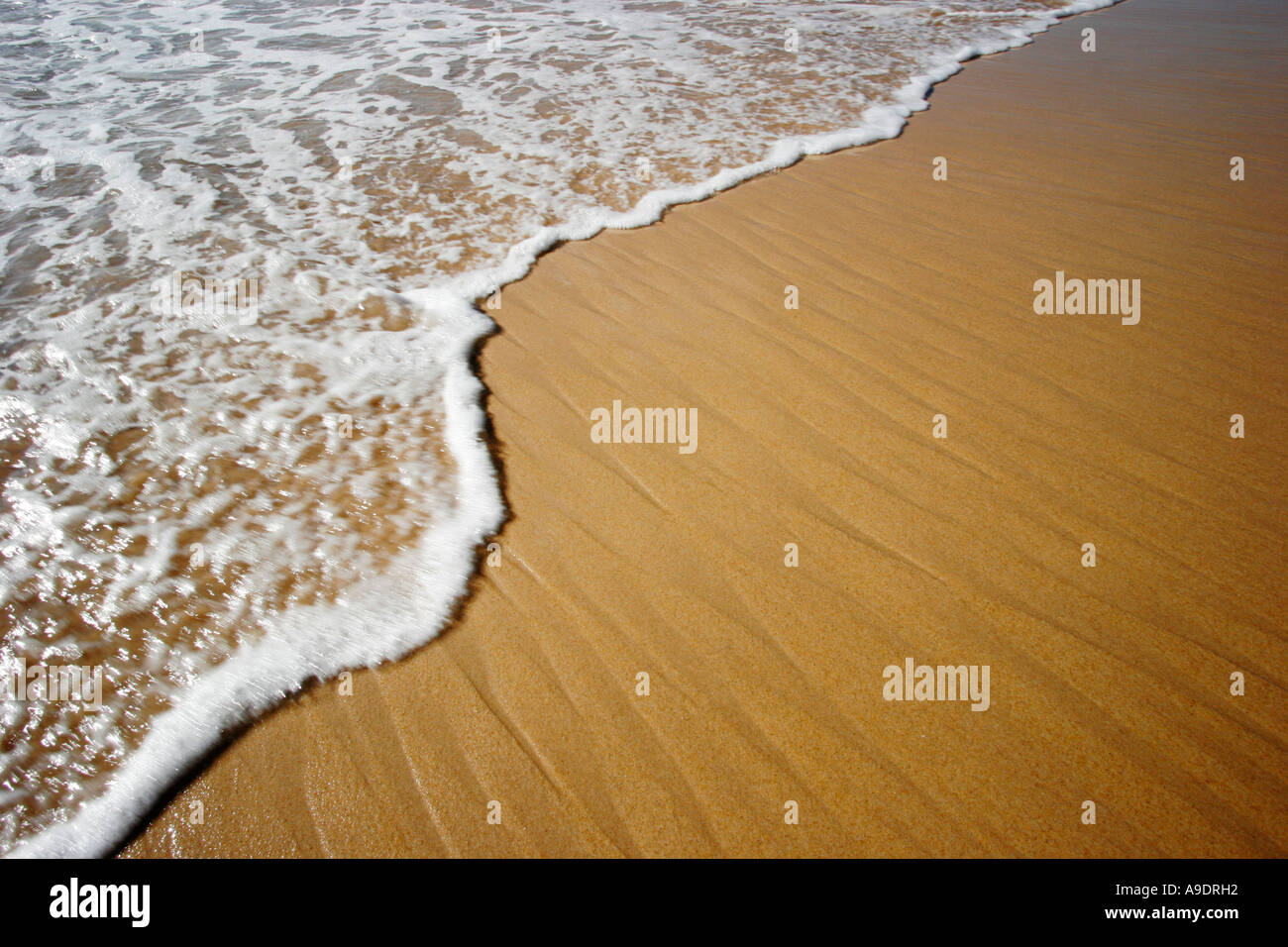 ocean tide or wave coming in to a sandy beach - Stock Image