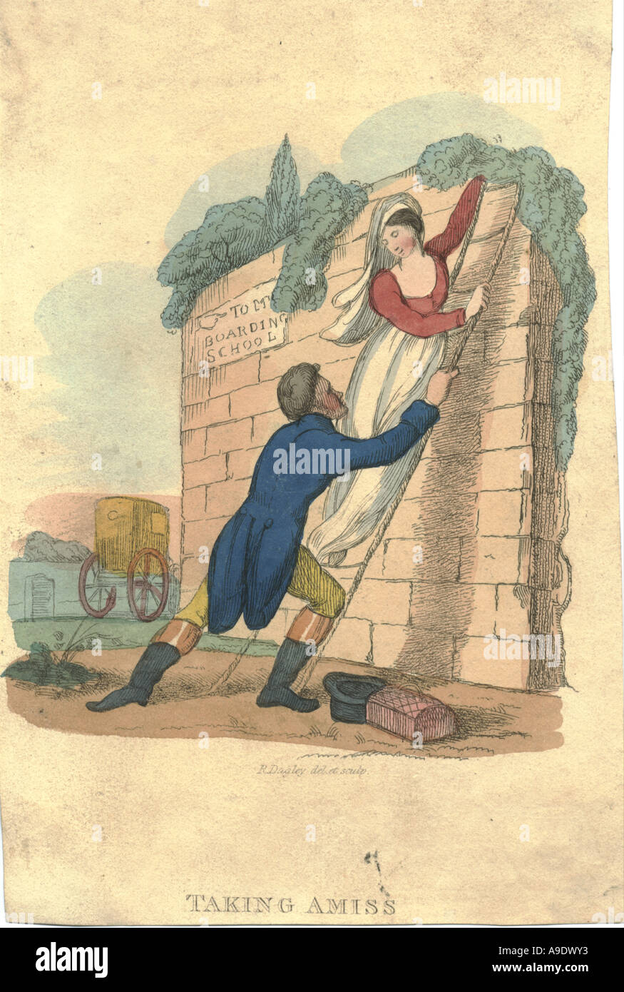 Hand coloured plate titled 'Taking amiss' circa 1825 - Stock Image