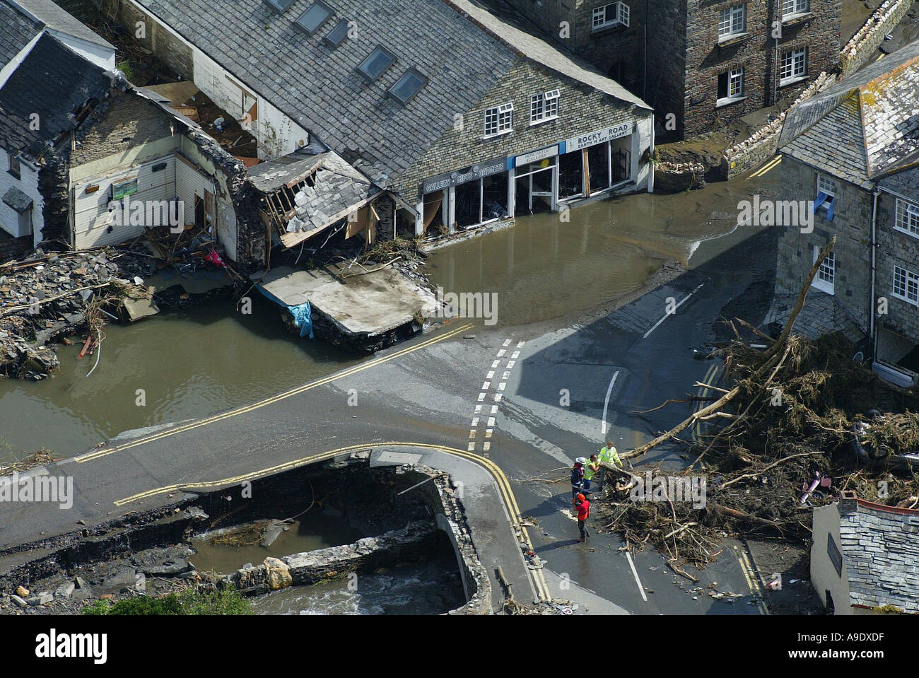 17 08 2004 The scene at Boscastle this morning after yesterday s devastating flood - Stock Image
