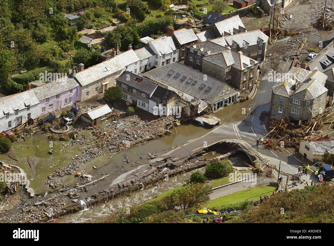 17 08 2004 The scene at Boscastle this morning after yesterdays devastating flood - Stock Image