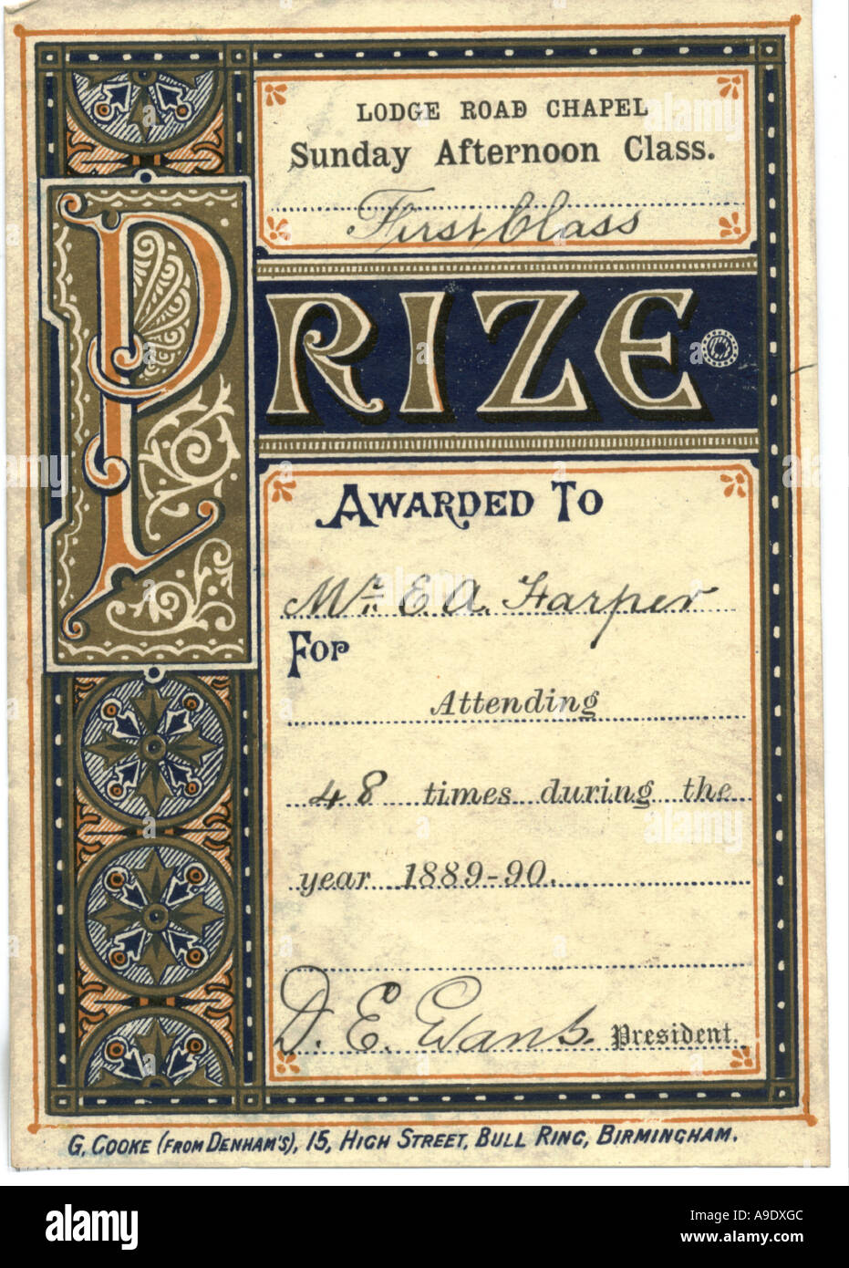 Book prize label awarded for Sunday School attendance 1889 - Stock Image