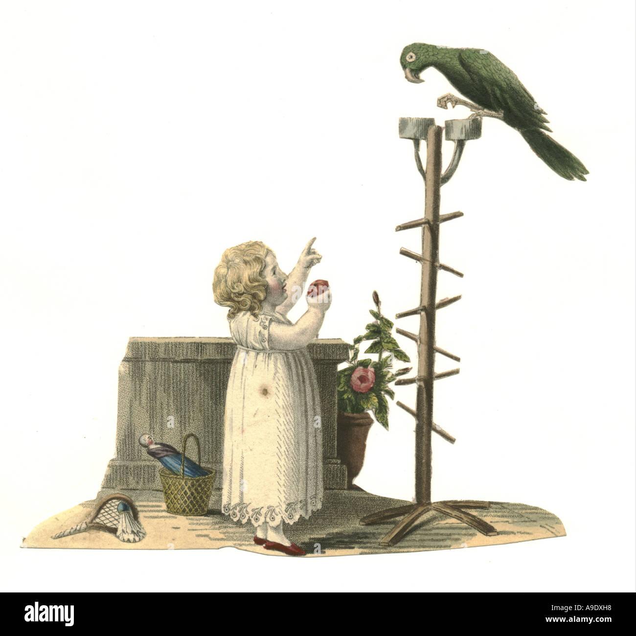 Cut out scrap, hand coloured lithograph circa 1840 - Stock Image