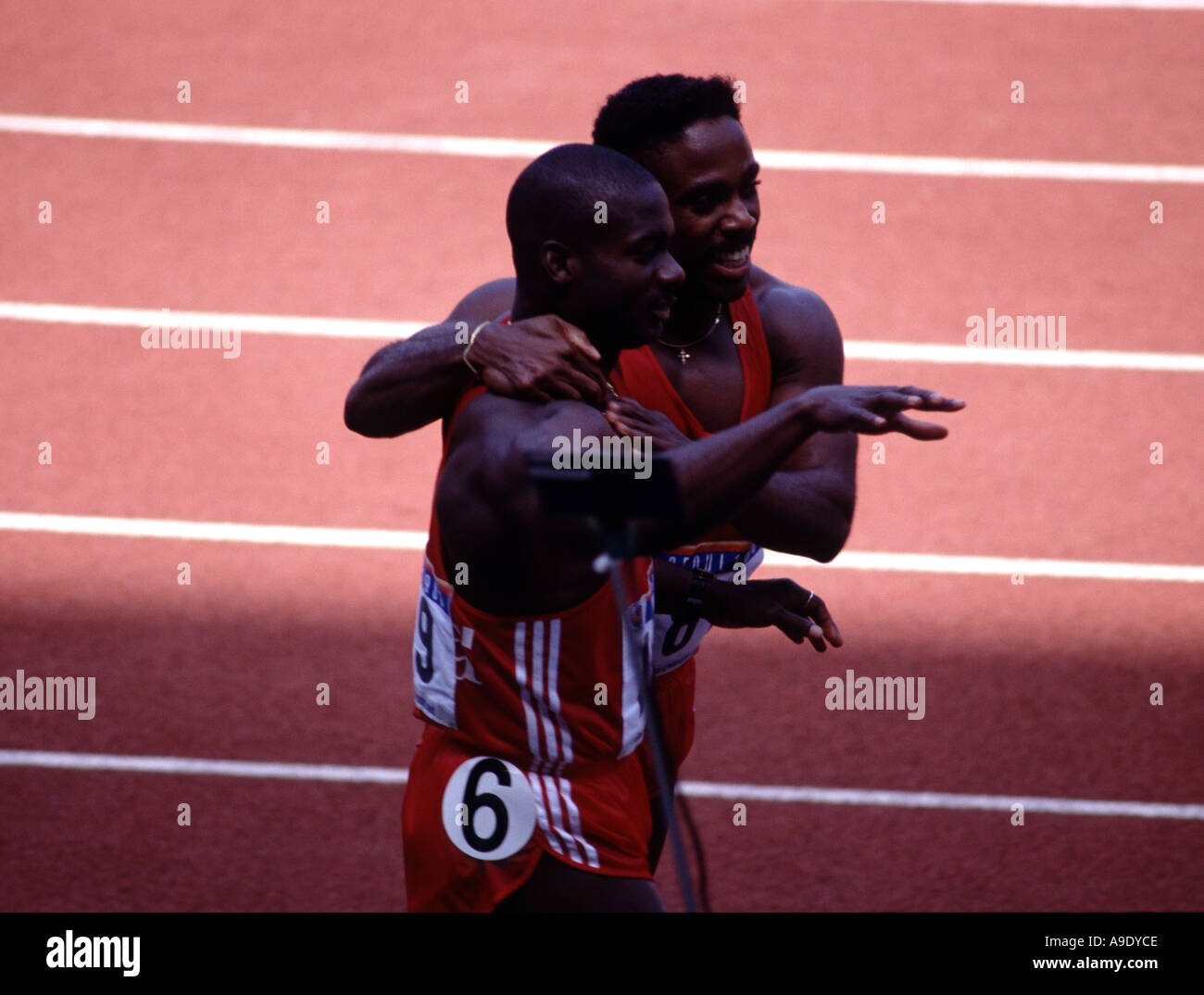 Ben Johnson Canada wins 100 metres Seoul Olympics Korea in 1988 before failing a drugs test and being banned. - Stock Image