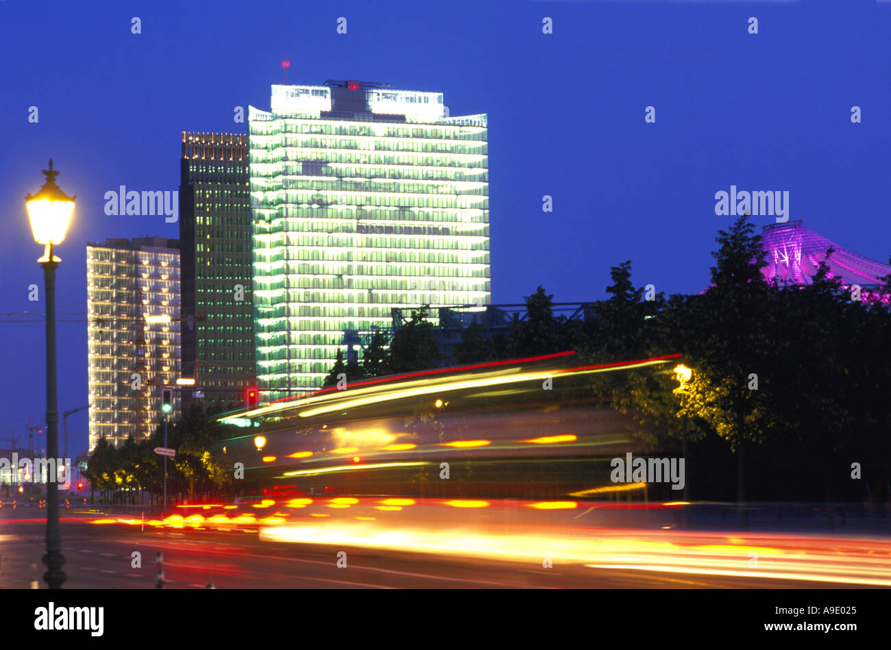Daimler Benz Quartier at dusk Berlin germany - Stock Image