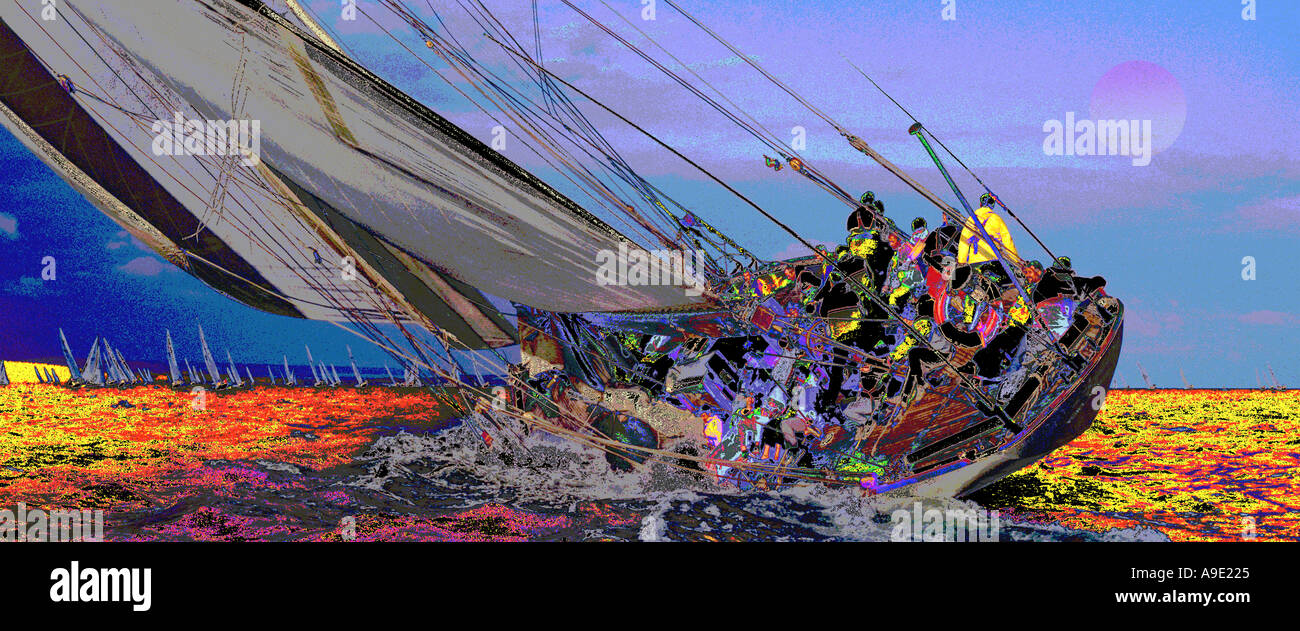 Abstract Surreal Sailing picture Velsheda Solent Isle of Wight England UK Stock Photo