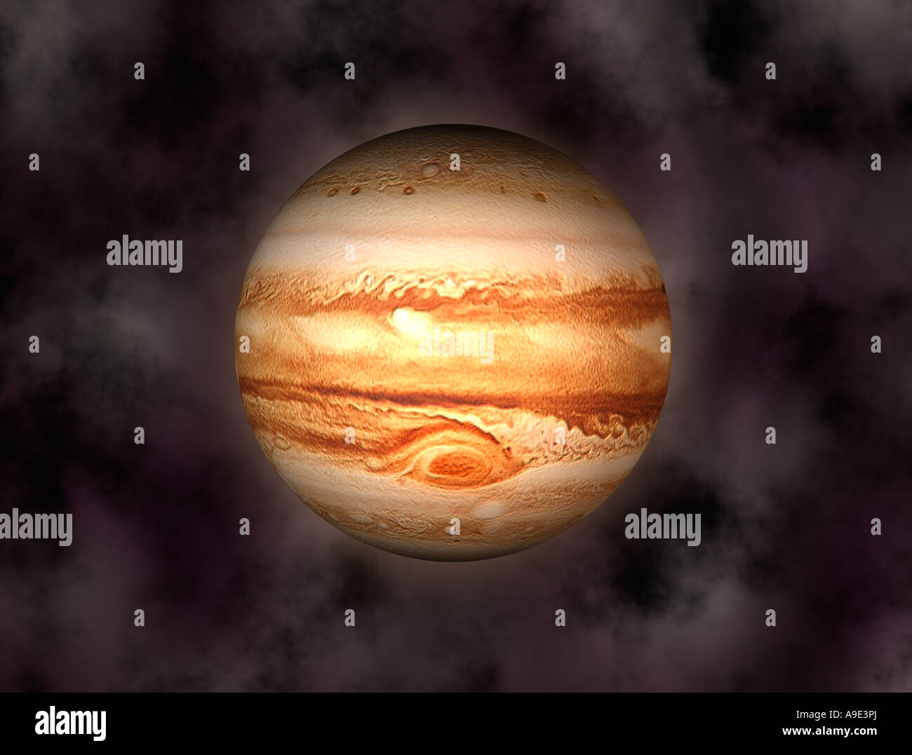 Planet Jupiter With Computer Generated Solar System As Background - Stock Image