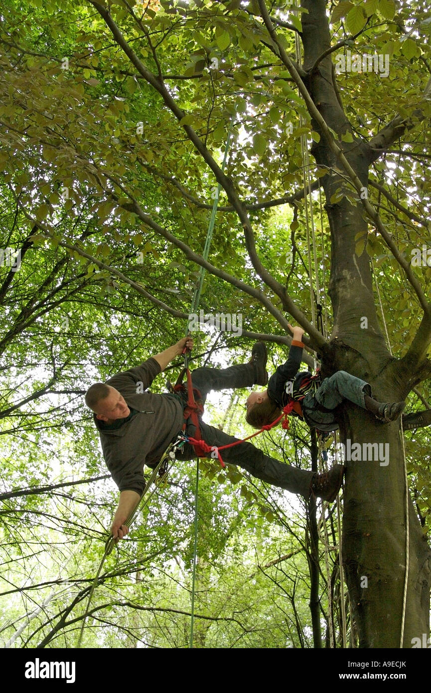Tree climbing teacher and boy - Stock Image