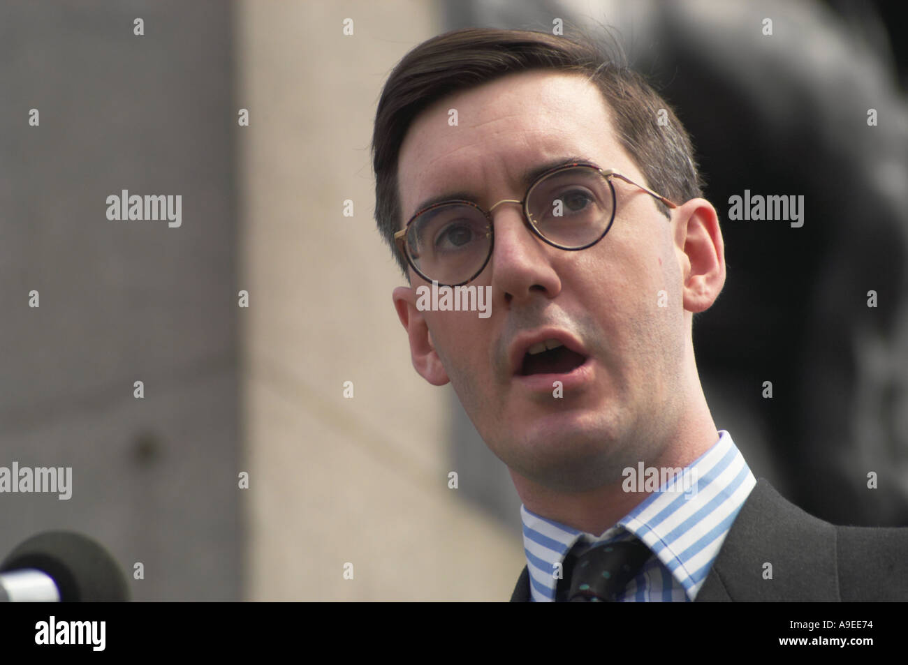 Jacob Rees Mogg speaks at Celebration of Life Choose Life Rally London - Stock Image