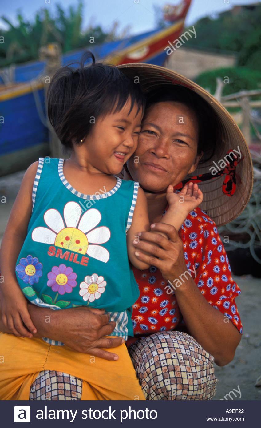 Mother and daughter Mui Ne fishing village Phan Thiet Vietnam Stock Photo