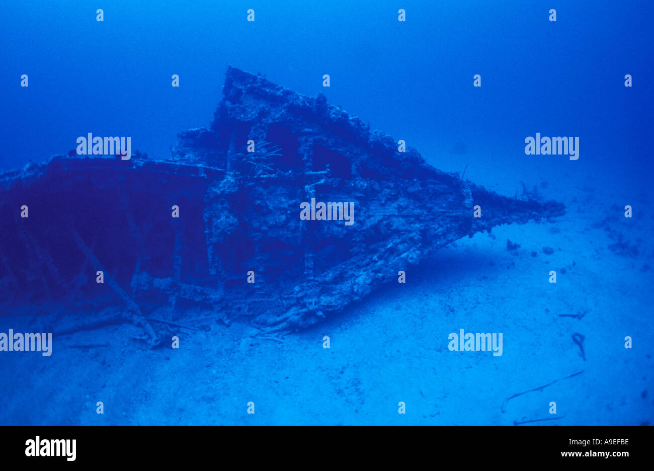BOW SECTION OF THE RHONE SHIPWRECK ON THE SAND IN ABOUT 70 FEET BVI - Stock Image